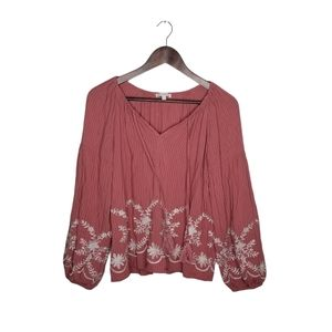 Skies are Blue: Mauve Embroidered Top